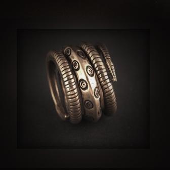 Baltiški papuošalai.Žalvarinis įvijinis žiedas - Žaltys 2.
