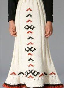 Vienetinis autorinis vilnonis vaikiškas sijonas su baltų ornamentais 10-12m. mergaitei